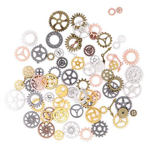 Punk Radgetriebe, 100 g, Vintage-Stil, Metall, gemischte Farben, Steampunk-Gänge, Uhren, Radgetriebe zum Basteln, Dekoration, Bastel-Zubehör