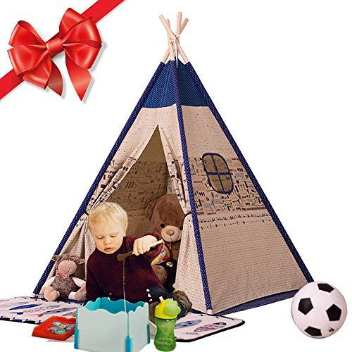 Golden.Y Tienda de Campaña Infantil,Tienda para Niños, Casa de Juegos para niños Muebles de Sala de Juegos para niños, Cavans Tipi Niños Lienzo de Algodón Tiendas de Campaña Niños Indios Teepees.