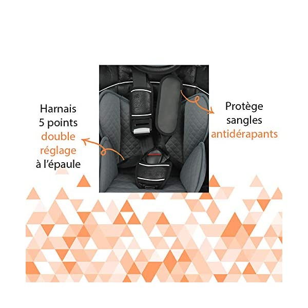 Child car seat Beline Grp 1/2/3 (9-36kg) with side protection - Nania Skyline black nania Booster seat with group 1/2/3 harness for children between 9 and 36 kg. The BELINE group 1/2/3 car seat is approved according to ECE R44/04 and is manufactured and tested in France. Beline car seat to transport your child in the car in complete safety. The car seat can only be installed facing the road in the back seat of the car. The car seat is secured with the 3-point seat belt and the child is secured with the 5-point harness. 7