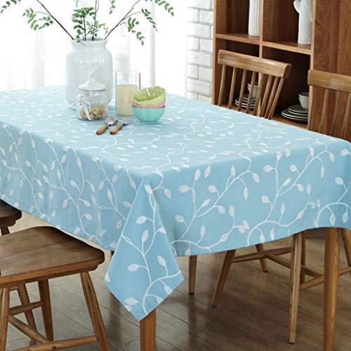 GWELL Baumwolle Leinen Tischdecke Eckig Abwaschbar Tischtuch Pflegeleicht Schmutzabweisend Frische Farbe blau 100 * 140cm