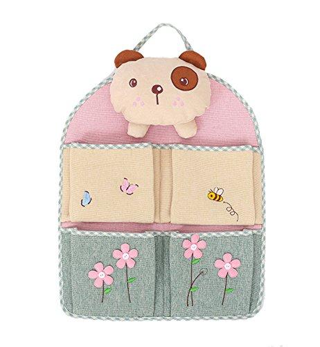 HilltopToCloud Portaoggetti Parete Porta in Lino Cotone Cartoon Orsino Bambole Organizzatore da Appendere Neonato 4 Tasche