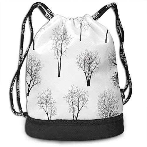 tring Backpacks Bags,Spooky Horror Movie Themed Branches Forest Trees Nature Art Print,Adjustable String Closure ()
