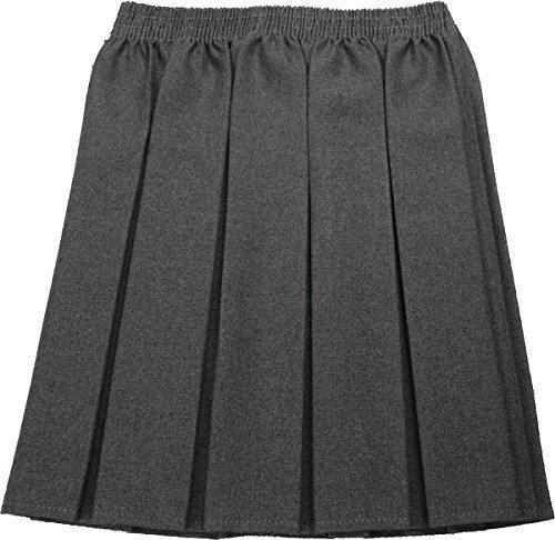 School Uniform Girls Box Pleat Skirt Full Elastic Grey 17-18