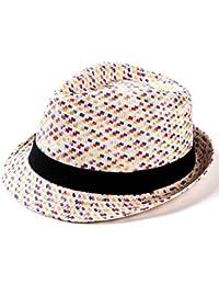 PULI Chapeau en paille court à la courte bourse en cuir noir avec ceinture noire