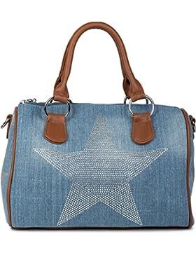 styleBREAKER Jeans Bowling Bag mit Strass Stern Applikation, Umhängetasche,Tasche, Damen 02012111