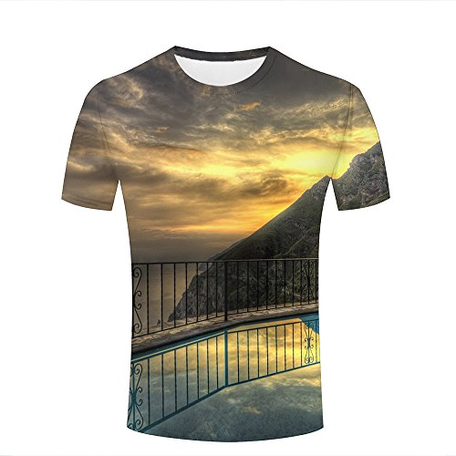 Men Women 3D Printed T-Shirts Balcony with Ocean View Graphic Summer Casual Short Sleeve Tees Tops L -