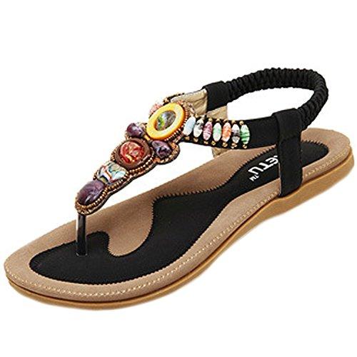 Minetom Damen Sommer Bohemian Schuhe YStrap Thong Sandalen Sandaletten  Zehentrenner Schwarz
