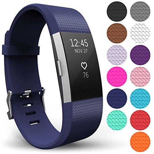 Yousave Accessories® Armband für Fitbit Charge 2, Ersatz Fitness Armband und Uhrenarmband, Silikon Sportarmband und Fitnessband, Wristband Armbänder für Fitbit Charge2 - Groß, Marineblau