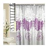LOUMVE Polyester Lila Pfingstrose Antischimmel Duschvorhang mit Duschvorhangringe Wasserdicht Badezimmer Duschvorhang 280 x 200 cm