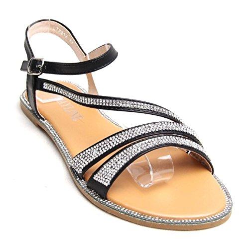 Femmes Mesdames Plat Sandales Chaussures Diamante boucle sangles de plage d'été Casual Party Noir - noir