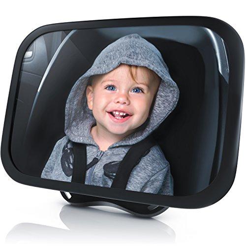 Rücksitzspiegel für Babys aus bruchsicherem Matarial - Autositz-Spiegel 24.5 x 17.5 cm - Auto Rückspiegel für die Babyschale Kinderschale - Auto Spiegel Kindersitz