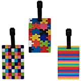 Tootpado Multicolor - Puzzle Pattern(Pack Of 3) Luggage Tag