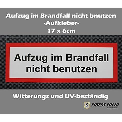 Pegatinas Ascensor en caso de incendio No utilizar 17x 6cm Lift fahrstuhl Cartel pantalla