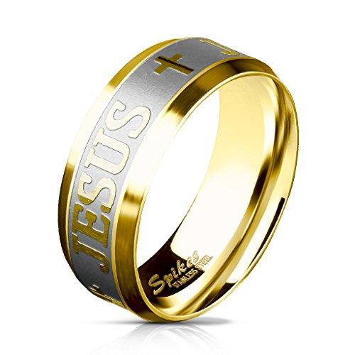 Paula & Fritz gebürsteter Edelstahl Damen-ring Verlobungs-ring Freundschaftsring Herrenring Partnerring Jesus Kreuz Gravur gold R-M5870G 50 (16)