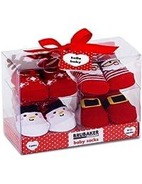 BRUBAKER - Chaussettes bébé - Lot de 4 Paires - Garçon/Fille 0-12 Mois - Coffret cadeau Naissance/Baptême - Ultra douces & mignonnes - Unisexe