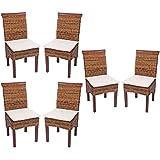 Set 6x sedie M45 intreccio di banano gambe chiare 96x46x55cm ~ con cuscino