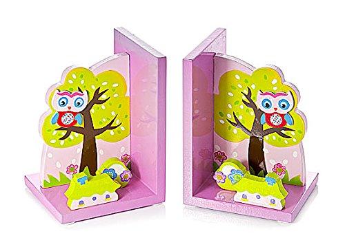 Buchstützen Kinder Rosa Eulen aus Holz für Mädchen