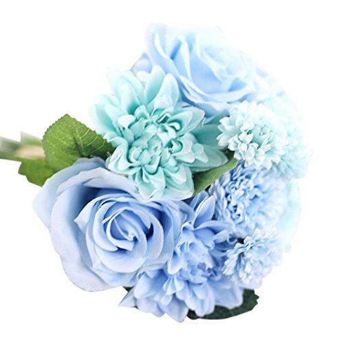 �ck künstliche Seidenblumen, Blätter, Rose, Blumenstrauß für Hochzeit, Party, Heimdekoration blau ()
