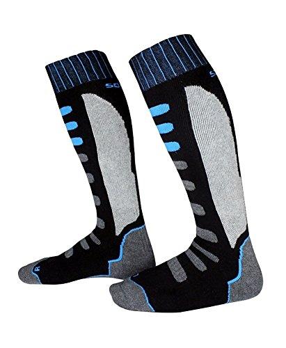 Barrageon Unisexe Enfant Chaussettes de Ski Thermiques Chaudes, Contrôle de l'Humidité Anti-Odeur Anti-Bactérienne Chaussette d'hiver Noir/Bleu - EU 35-38