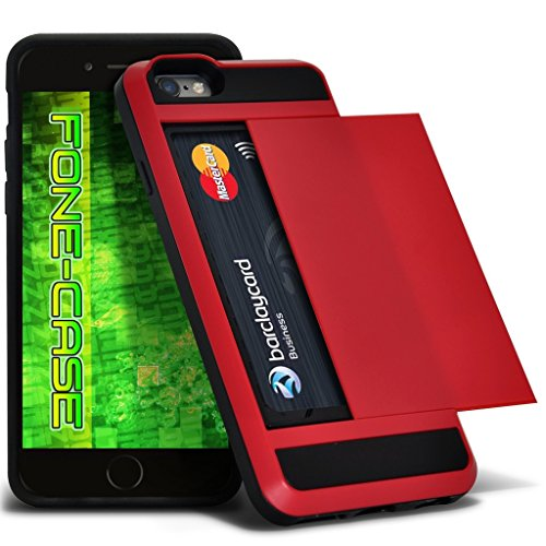 Fone-Case (Hot Pink) Apple iPhone 5 / SE Tough Armour hybride Couverture rigide de protection antichoc Cas avec emplacement de carte diapositive titulaire Red