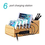 Charging Station Dock with 6-port 40W USB Charger Desktop Organizer and Smart IC Tech Fast Charge for iPhone 7 / 6s / Plus /iPad / Tablets / Sony / Samsung / Huawei / Bluetooth Speakers / Kindle / Headphone / PS4 and Other USB-Charged Devices (A5)