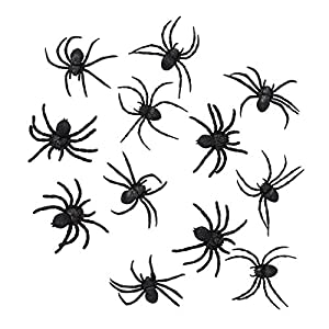 Boland 74466 – Spinnen Set, 12 Stück, Größe 7 x 8 cm, Schwarz, Achtbeiner, Krabbeltiere, Tiere, Accessoire, Dekoration…