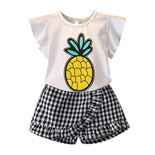Kleinkind Mädchen Ananas T-Shirt Tops und Plaid Kurze Hose Set Fleece Plaid Shirt
