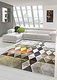 Designer Teppich Moderner Teppich Wohnzimmer Teppich Kurzflor Teppich mit Konturenschnitt Karo Muster Multi Farben Orange Grün Braun Größe 160x230 cm