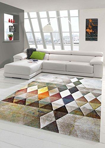Designer Teppich Moderner Teppich Wohnzimmer Teppich Kurzflor Teppich mit Konturenschnitt Karo Muster Multi Farben Orange Grün Braun Größe 160x230 cm -