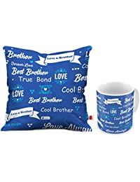 Indigifts Printed Cushion 12x12-inch with Filler, Mug 330 ml, Rudraksha Rakhi, Roli and Greeting Card for Brother
