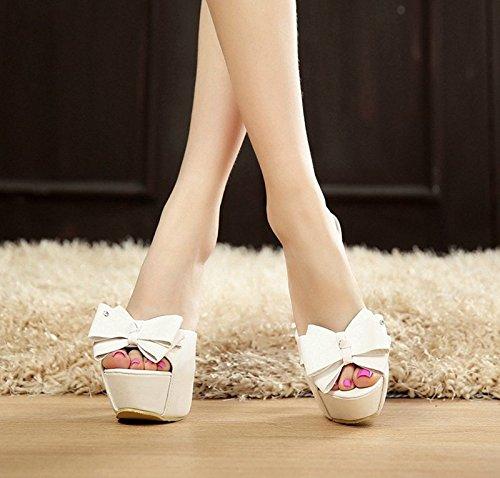 GTVERNH-estate bianco 8.5cm solo scarpe sexy e super a bocca di pesce pantofole dolce farfalla nodo sandali.,trentaquattro Thirty-four