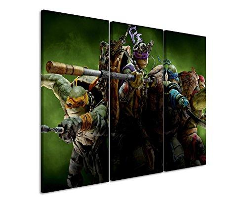Leinwandbild 3 teilig Ninja_Turtles_3x90x40cm (Gesamt 120x90cm) _Ausführung schöner Kunstdruck auf echter Leinwand als Wandbild auf Keilrahmen