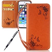 iPhone se pelle Butterfly cellulare, iPhone 5 5S Lanyard Wallet per