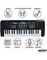 Gooyo Bigfun Kids Toys Electronic Musical Instruments 37 Keys Toy Music Piano Keyboard with Microphone - Black for Boys Kids Girls