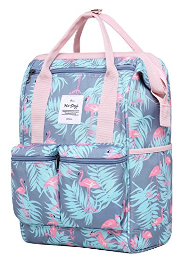 HotStyle DISA Fashion Blumen Damen Laptop Rucksack 14 zoll (44x27x17cm) - Millennial Flamingos (Army Junior Bag Handtaschen)