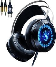 AOSO G400 Auriculares juego PC los auriculares estéreo aislamiento ruido luz LED respiración Micrófono incorporado para PC PS4 Mac