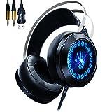 AOSO Gaming Kopfhörer PC G400 Stereo Over-Ear-Headset mit Mikrofon und LED Atem Licht für PC PS4 Chat Musik Schwarz