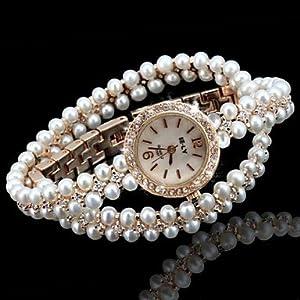 Relojes Hermosos, Mujeres de la señora de la marca agradable perla watch brillando muñeca bling bling de cuarzo relojes de alta calidad de HUILIAN