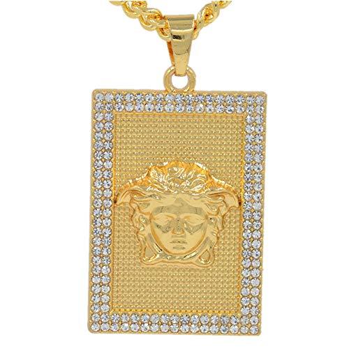 ORKST Medusa 18k Gold Zirkon Rechteckig Anhänger Halskette, Männer und Frauen Mode Schmuck Zubehör