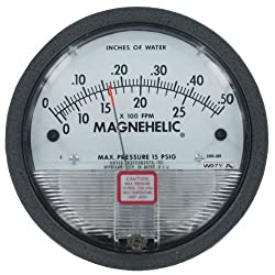 Dwyer Magnehelic Differential Pressure Gage, 2001-AV, Range: 0-1.0 w.c., 500-4000 FPM pc