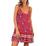 NPRADLA Tempo Libero Primavera Estate 2019 delle Donne di Boho Holiday Beach Mini Dress delle Signore di Svago Dell'Increspato Scollo A V Floreale del Vestito da Partito di Sconto