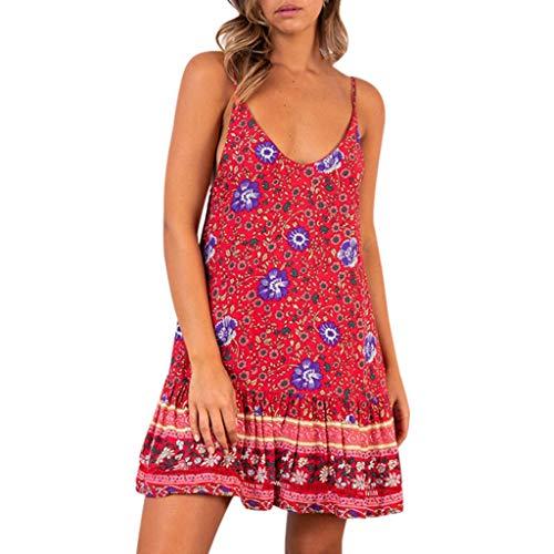 GOKOMO Sommer Kleider für Damen Boho Holiday Beach Mini Bandage Dress Ladies Floral Ruffled V-Neck Party Dress(Rot4,Small)