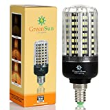 GreenSun 12W E14LED maíz lámpara 2835SMD ahorro de energía bombilla blanco frío 6500K 220V 360grados Super brillante con intensidad regulable (100% -50% -25%)