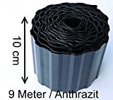Rasenkante 9m lang 10cm hoch Farbe Schwarz / Anthrazit Rasenumrandung Beetbegrenzung Raseneinfassung Mähkante trapez wellung