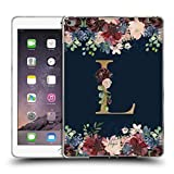 Head Case Designs Offizielle Nature Magick L Blumiger Monogramm Gold Navy Soft Gel Hülle für iPad Air 2 (2014)