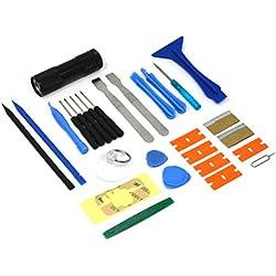 ACENIX - Kit de réparation avec tournevis et lampe torche à UV - Pour iPhone, iPad, iPod, Samsung, HTC, Motorola, smartphones, tablettes et autres appareils [28pièces]