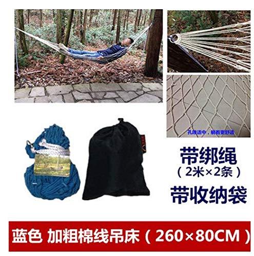 WXDC Hamac Stents individuels, hamac en acier inoxydable importé vietnamien, lit de jardin intérieur extérieur, sac de support réglable à balançoire rabattable, pas de bâton 90 brins [ sac de corde bleu ]