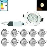 ECD Germany 10-er Pack LED Einbaustrahler 3W 230V - Rund Ø8,2cm - 214 Lumen - Warmweiß 3000K - schwenkbar 30° - IP44 - Einbauleuchte Leuchtmittel Lampe Spot