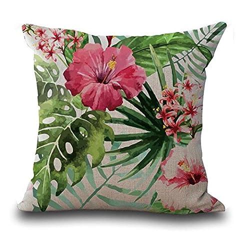 Pillow Case Vintage Flower Tropical Leaves Waist Throw Pillow Case Cushion Cover Home Deco (B)