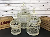 S/3 Vintage Birdcage Large Wedding Table Centerpiece Ivory Metal Bird Cages